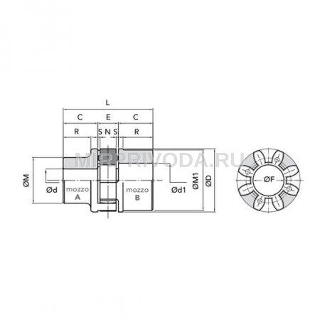 Муфта GE-T 28-38 B-B Red (Алюминий)
