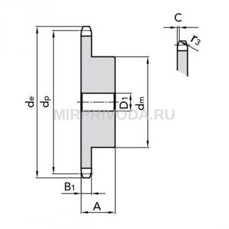 Звездочка 10B-1 со ступицей, под расточку, Z=26
