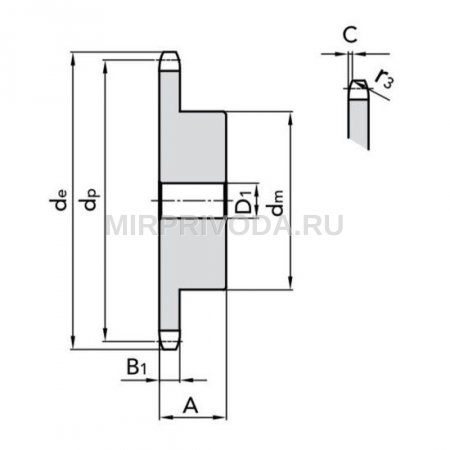 Звездочка 10B-1 со ступицей, под расточку, Z=33