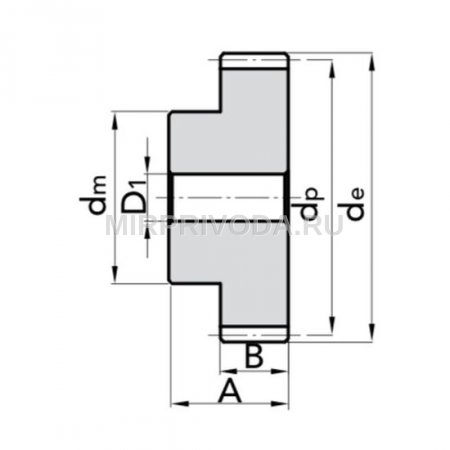 Шестерня цилиндрическая  M1 Z=12 со ступицей