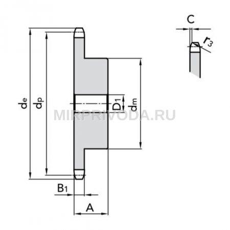 Звездочка 16B-1 со ступицей, под расточку, Z=25, температурная закалка