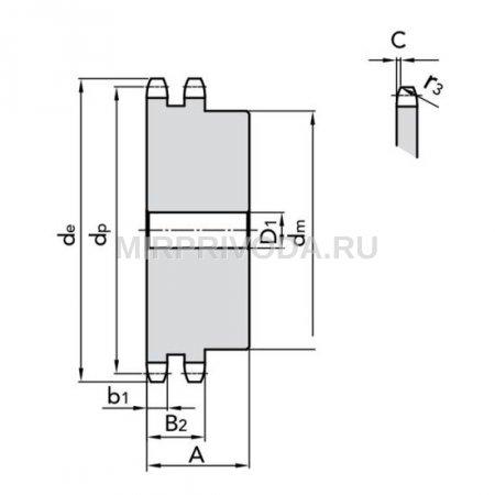 Звездочка 16B-2 со ступицей, под расточку, Z=60