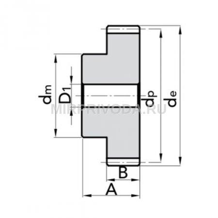Шестерня цилиндрическая  M1 Z=19 со ступицей