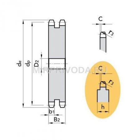 Звездочка ASA 40-2 без ступицы, под расточку, Z=44